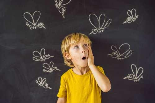 ילד קטן מאחורי לוח עליו מצויירים יתושים